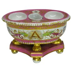 18th Century pink Sevres porcelain inkwell with Masonic or Fraternal symbols