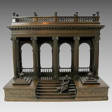 19th Century Architectural bronze inkwell-scholar on steps of Parthenon