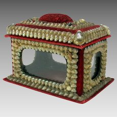 Unusual Victorian shell decorated display box with glass sides