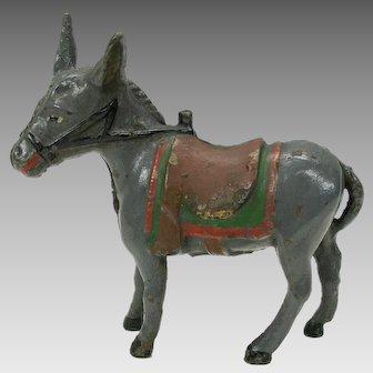 Antique painted cast iron still bank-saddled Donkey
