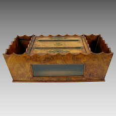 Victorian burl wood table top mail letter box-Unanswered and Answered sides