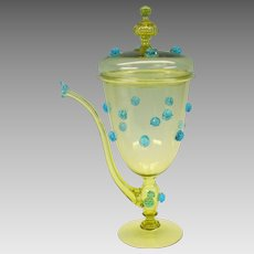 Antique Italian or Venetian art glass lidded pokal teapot with blue applied raspberries