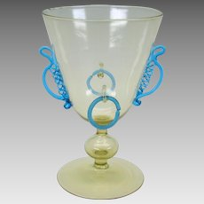 Antique Venetian glass goblet or wine glass with applied blue glass & rings