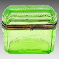 Antique Bohemian Uranium vaseline glass engraved casket box with birds flowers