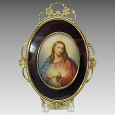 Vintage masterfully hand painted portrait of Jesus artist signed Ruby