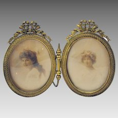 Victorian traveling double gilded brass photograph picture frame