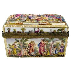 Big antique Capodimonte porcelain casket box with bronze trim
