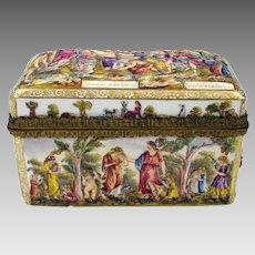 Big antique Capodimonte porcelain casket box with bronze trim