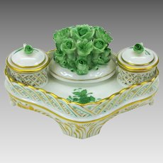 Vintage Herend porcelain Chinese bouquet desk stand double inkwell