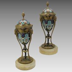 Pair French bronze champleve enamel Ram head urns-convert to candlesticks