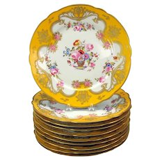 Set of 10 fine French antique enameled dinner plates homage to Rockingham 10 1/4""