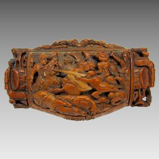 Important Military Napoleonic War carved Coquilla snuff box General Desaix
