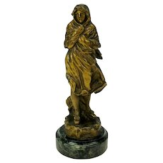 "Antique gilded bronze statue figure of a girl titled ""Winter"""