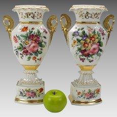 Pair of big antique Paris porcelain vases with swan handles