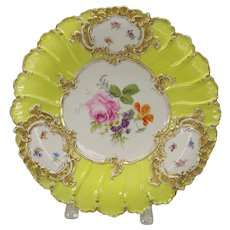 Antique Meissen porcelain wall charger or center bowl with yellow background and florals