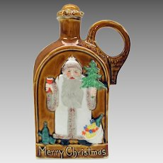 Vintage Schafer Vater German bisque Santa Claus flask Merry Christmas