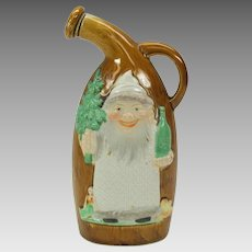 """Vintage Schafer Vater German bisque Santa Claus flask with tree and doll 6 1/4"""""""
