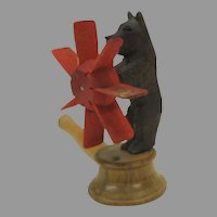 Antique Black Forest bear noisemaker whirly gig windmill toy