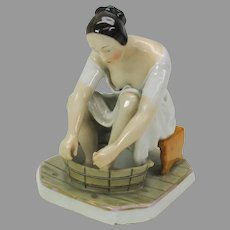 "1800's Carlsbad porcelain ""naughty"" figure of a woman bathing"