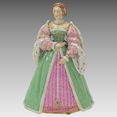 Antique Carl Thieme porcelain Medieval Lady figurine Eleonore d' Autriche 1530