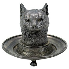 Antique American silver plated Cat inkwell with glass eyes