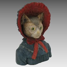 Big antique dressed Lady Cat tobacco jar with glass eyes