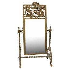 Antique bronze Arts & Crafts Aesthetic free standing dresser mirror
