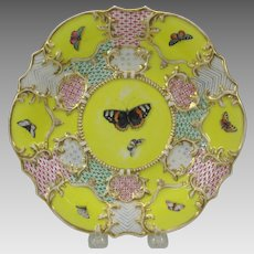 Early 19th Century porcelain plate with butterflies