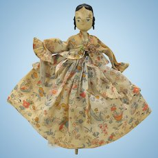 Vintage Grodnertal peg wooden doll with applied curls House of the seven Gables