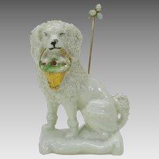 Victorian porcelain poodle holding basket stick pin holder