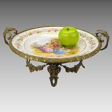 Big antique French hand painted porcelain and bronze centerpiece bowl tazza