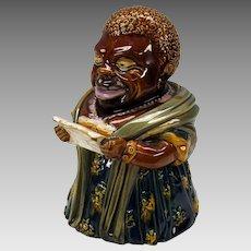 19th Century Black Americana Lady majolica glazed tobacco jar Humidor