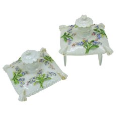 Pair antique Meissen porcelain pillow form perfume bottles with applied flowers
