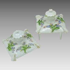 Pair antique Meissen porcelain pillow form perfume bottles with applied flowers