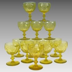 14 Georgian Armorial uranium vaseline wine glasses Baron of Antrobus 1815 Rockefeller Estate