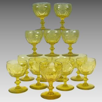 14 Georgian Armorial uranium vaseline wine glasses Baron of Antrobus 1815 Rockefeller Estate