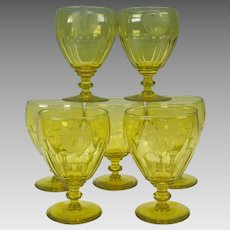 7 Georgian Armorial vaseline glass water goblets or stems 1815 Baron of Antrobus Rockefeller Estate