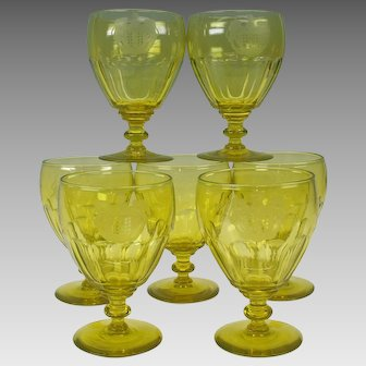 7 Georgian Armorial vaseline glass water goblets or stems 1815 Baron of Antrobus Rockefeller Estate