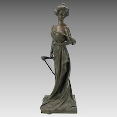 "18"" tall bronze figure Art Nouveau Woman with cherub headed harp signed"