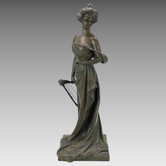 "18"" tall bronze figure Art Nouveau Woman with cherub headed harp signed"