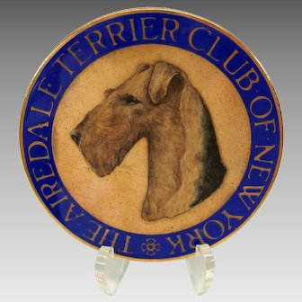 """1900's enameled dog medallion The Airedale Terrier Club of New York 2"""" wide"""
