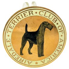 """1900's enameled dog medallion The Airedale Terrier Club of America 2"""" wide"""