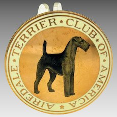 "1900's enameled dog medallion The Airedale Terrier Club of America 2"" wide"
