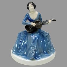 Vintage Art Deco Rosenthal porcelain figure Lady playing guitar