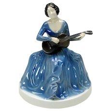 Vintage Art Deco Rosenthal porcelain figure Lady playing guitar