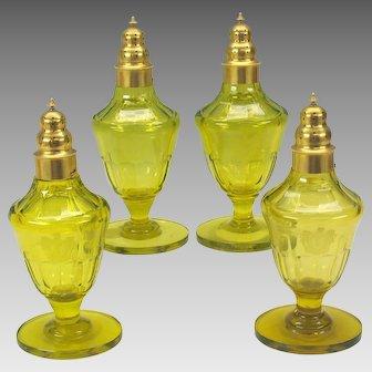 Set 4 Georgian Armorial uranium vaseline glass sugar shakers 1815 Baron of Antrobus Rockefeller Estate