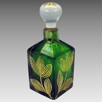 1900's Art Nouveau green glass perfume bottle with gilded engraved flowers