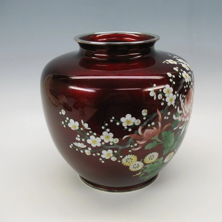 Big Signed Ando Cloisonne Vase Pigeon Blood Red With Chrysanthemums