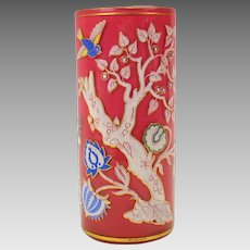 Antique heavily enameled pink cased glass cylinder vase with birds