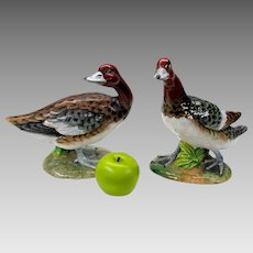 Big pair vintage Italian signed art pottery Duck figures statues